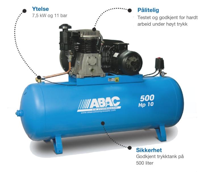 abac b7000 7 5 kw kompressor 500 liter tank hedmark. Black Bedroom Furniture Sets. Home Design Ideas